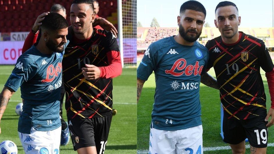 Benevento-Napoli, il derby dei fratelli Insigne: l'abbraccio prima del match