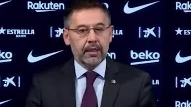 Barcellona, l'annuncio delle dimissioni di Bartomeu
