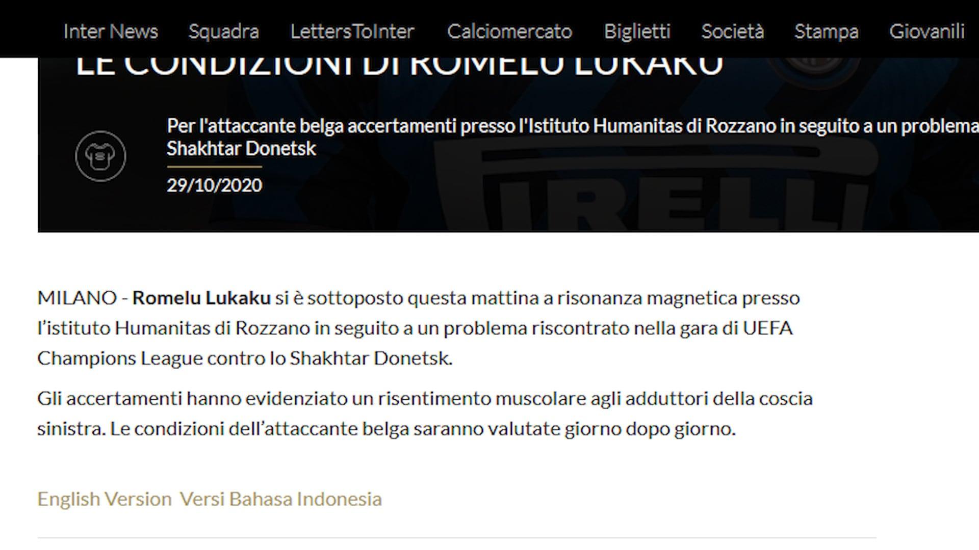 Ahi Inter, Lukaku ko: niente Parma, salta anche il Real?