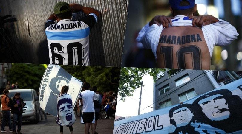 Maradona, l'amore dei tifosi sotto la clinica