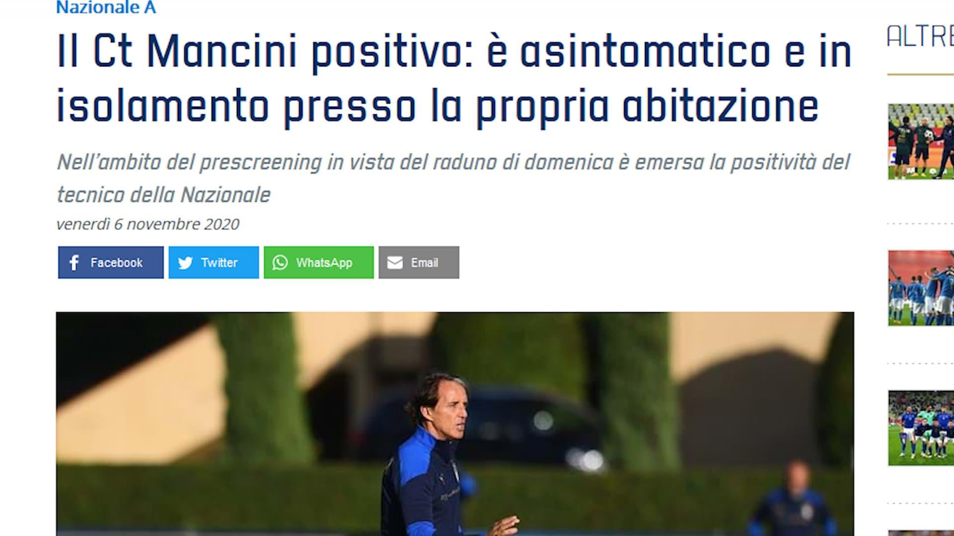 Italia, Roberto Mancini positivo al Coronavirus