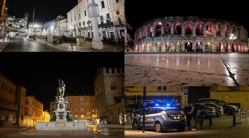 Prima notte in lockdown: le immagini spettrali di Verona e Bologna