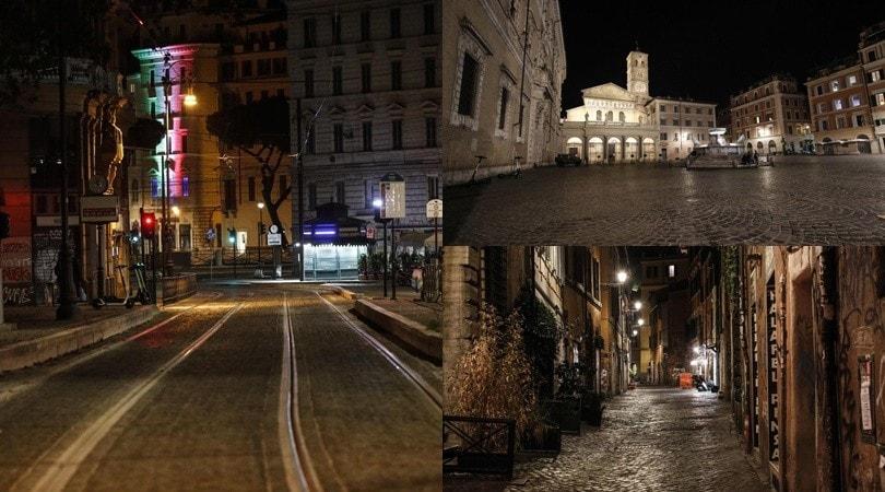 Coronavirus, le spettrali immagini di Roma deserta
