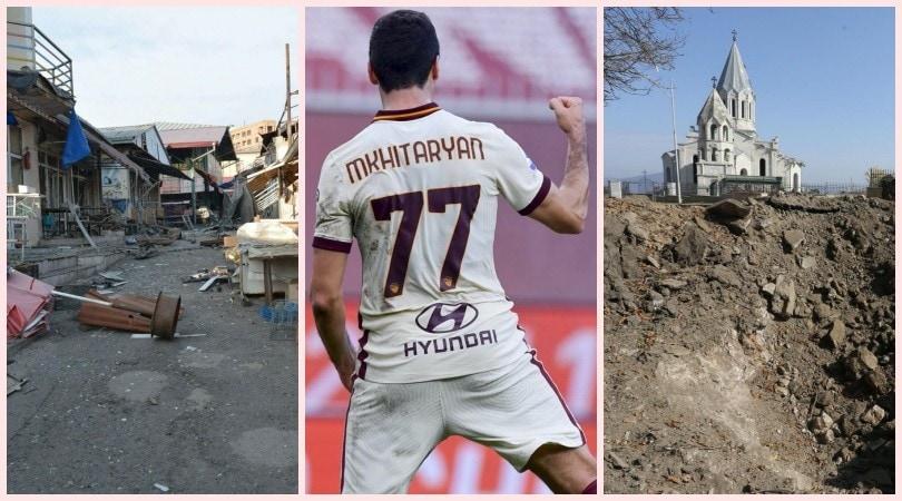 Mkhitaryan: testa alla Roma, cuore per l'Armenia. Gli scatti della guerra in Nagorno Karabakh