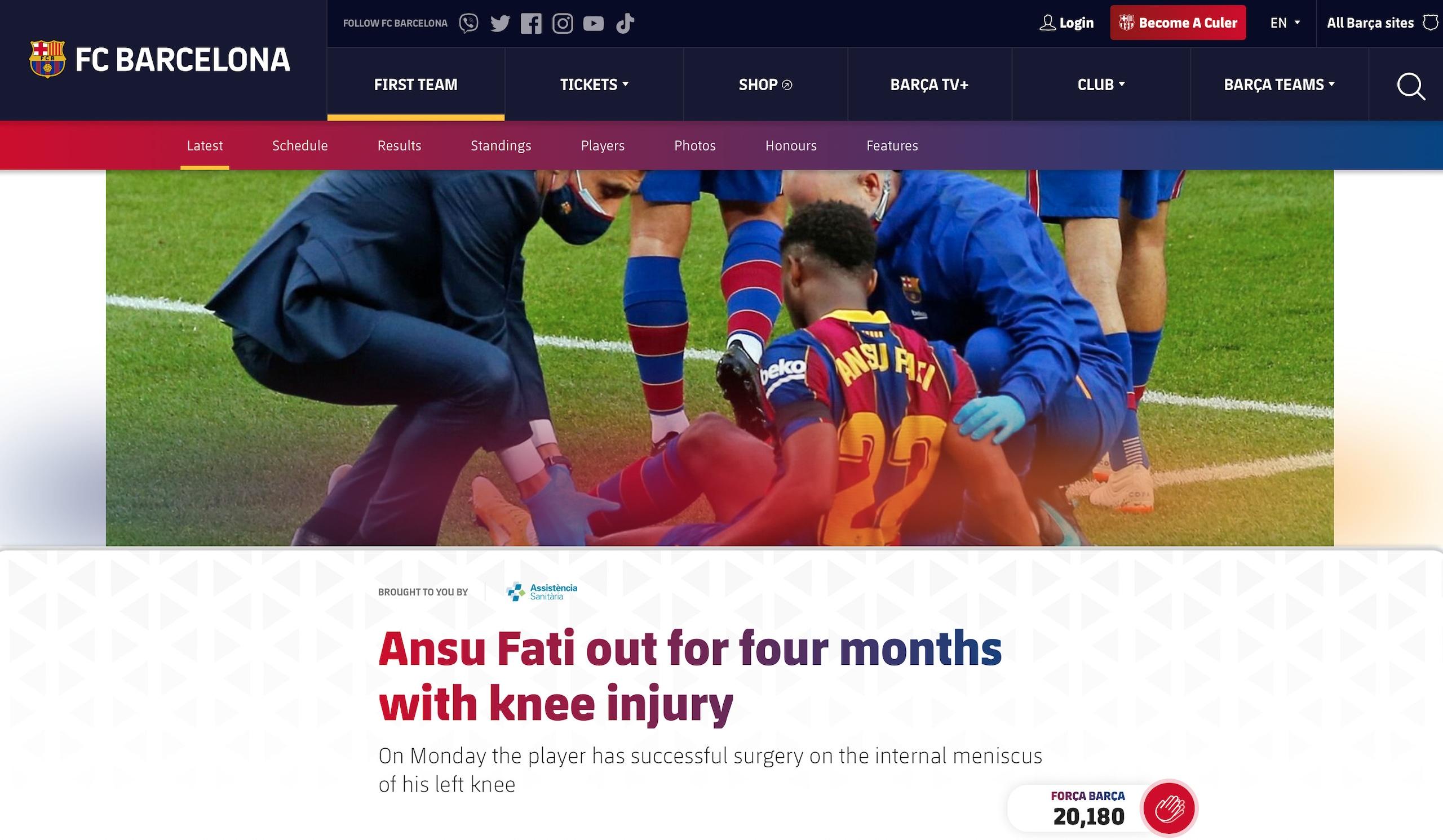 Barca, Ansu Fati out per 4 mesi