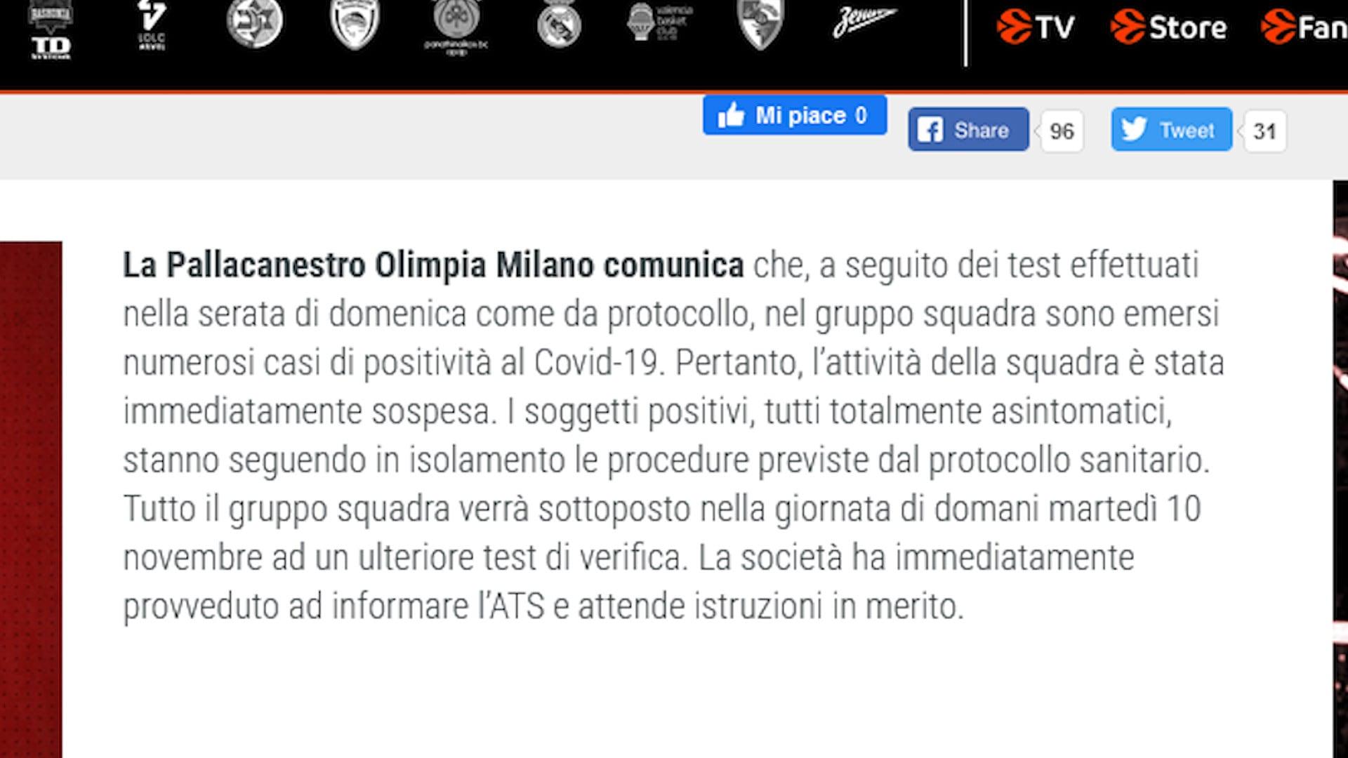 Basket, troppi casi Covid-19: l'Olimpia Milano sospende l'attività