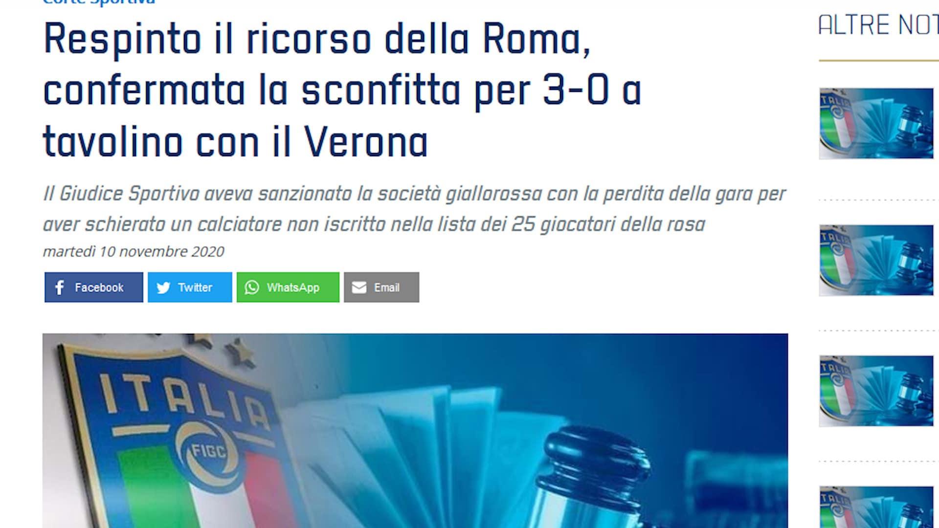 Roma, caso Diawara: respinto il ricorso, rimane 3-0 con Verona