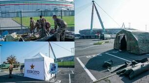 Juve, allestito campo Covid fuori dall'Allianz Stadium