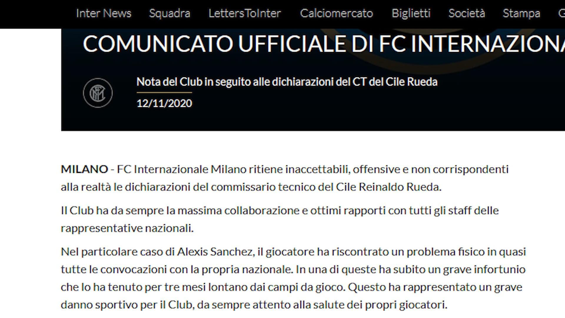 Inter-Cile, è bufera su Alexis Sanchez