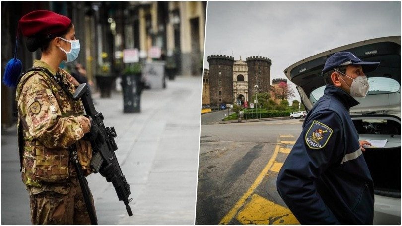Napoli, militari in strada per la prima domenica di zona rossa