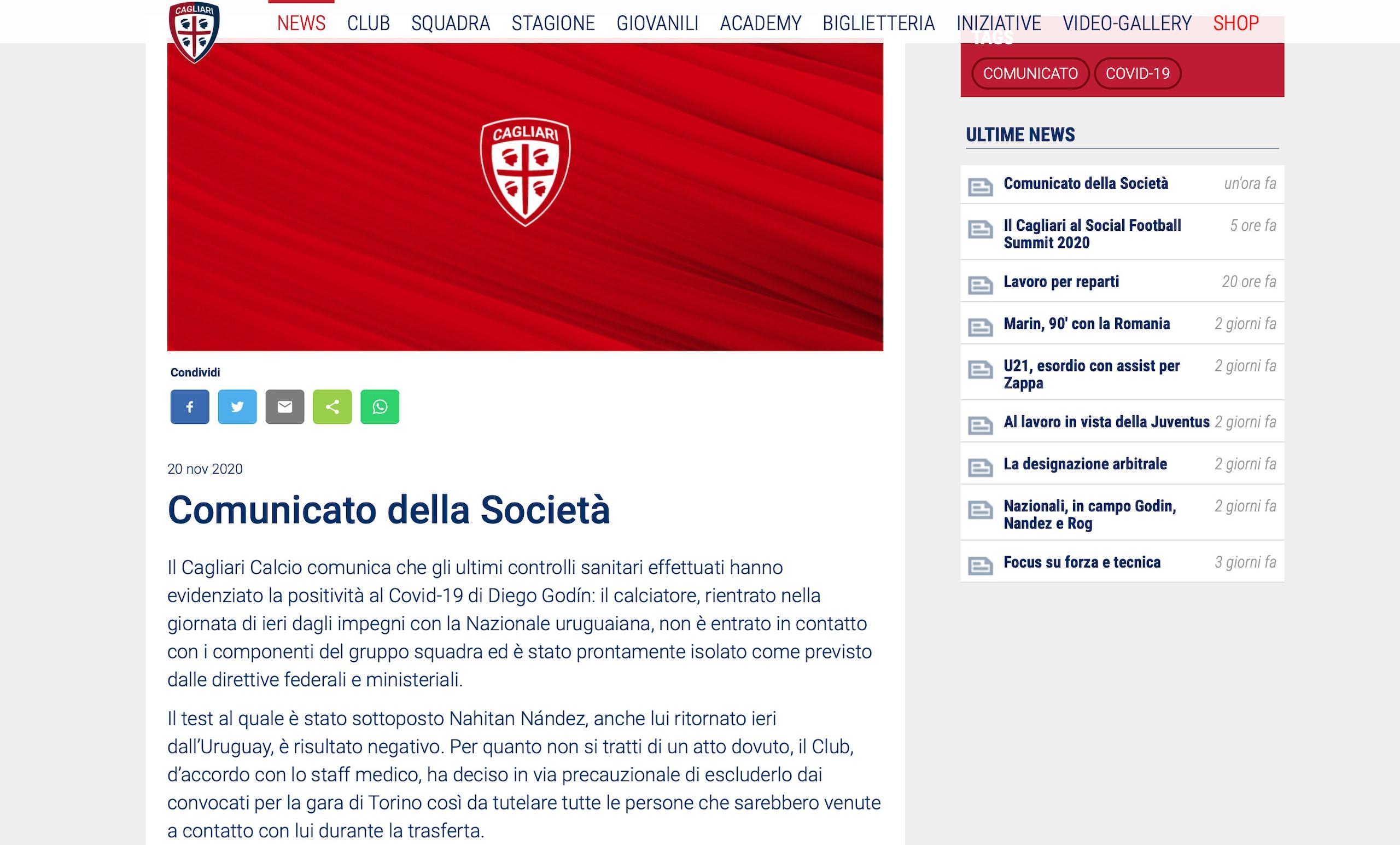 Cagliari, Godin positivo: salta la Juve