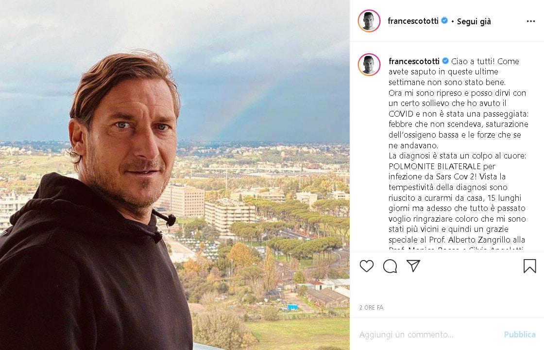Francesco Totti è guarito dal coronavirus