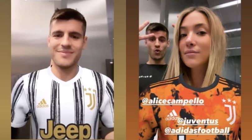 Morata e Alice show su Instagram con il nuovo filtro della Juve