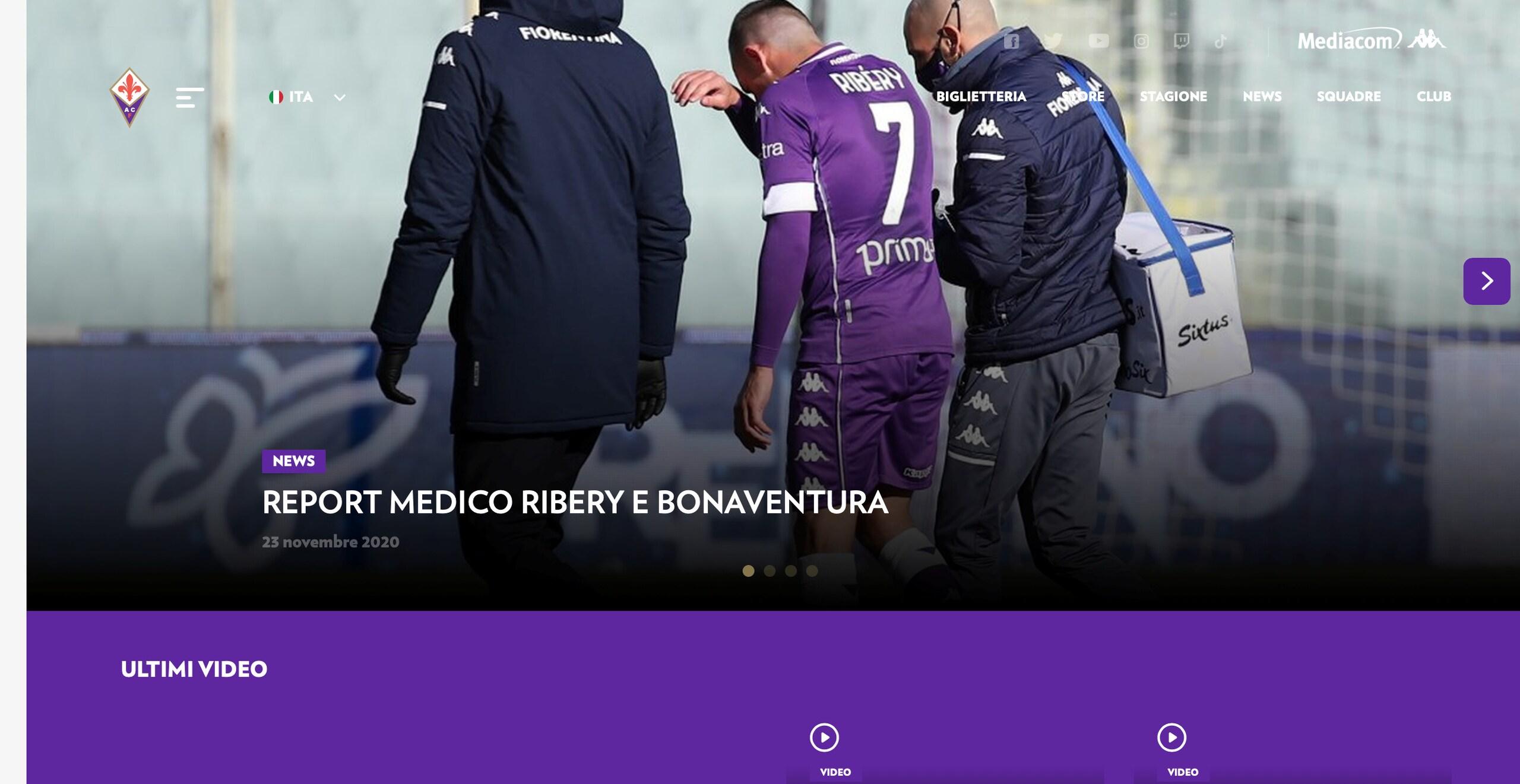 Fiorentina, Ribery non ha lesioni alla coscia