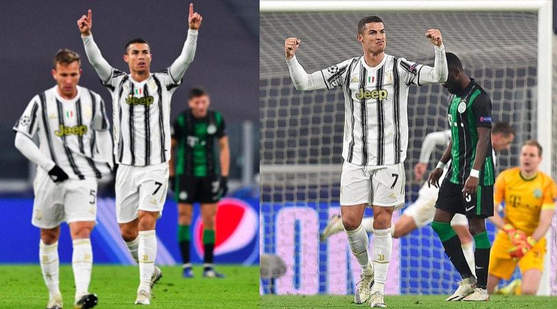 Juve, Ronaldo mostra i muscoli dopo il gol al Ferencvaros