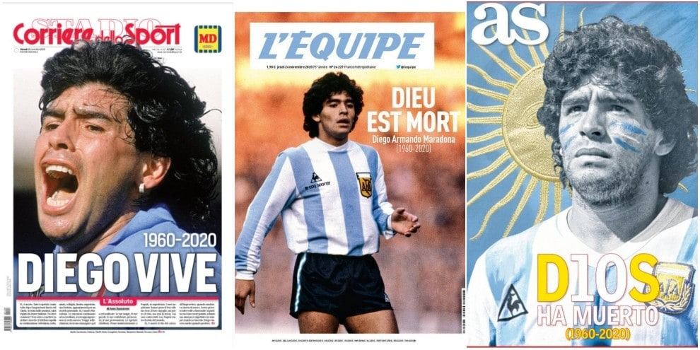Maradona, i giornali di tutto il mondo omaggiano il mito scomparso