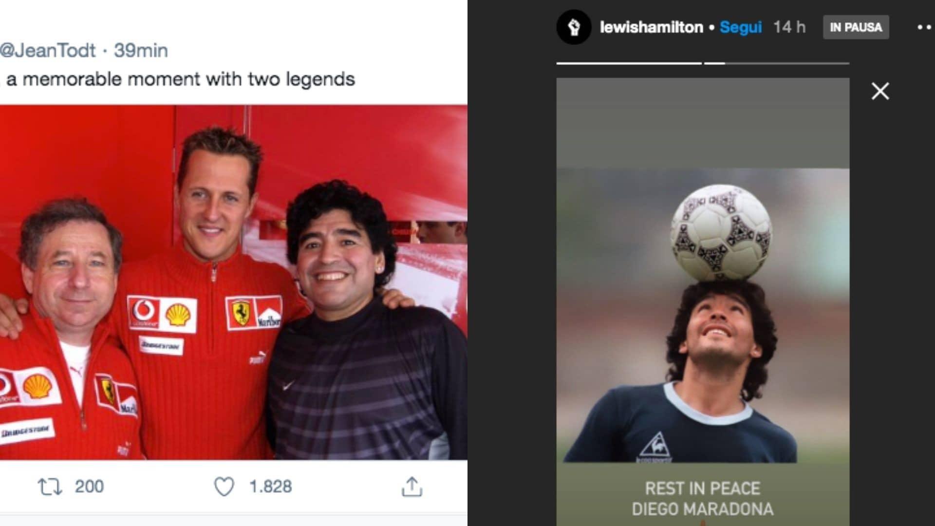 La Formula 1 piange Diego Maradona: l'addio di Leclerc, Hamilton e...