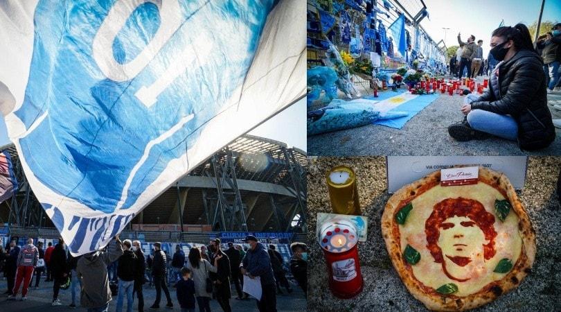 Maradona, l'omaggio dei tifosi del Napoli fuori dal San Paolo