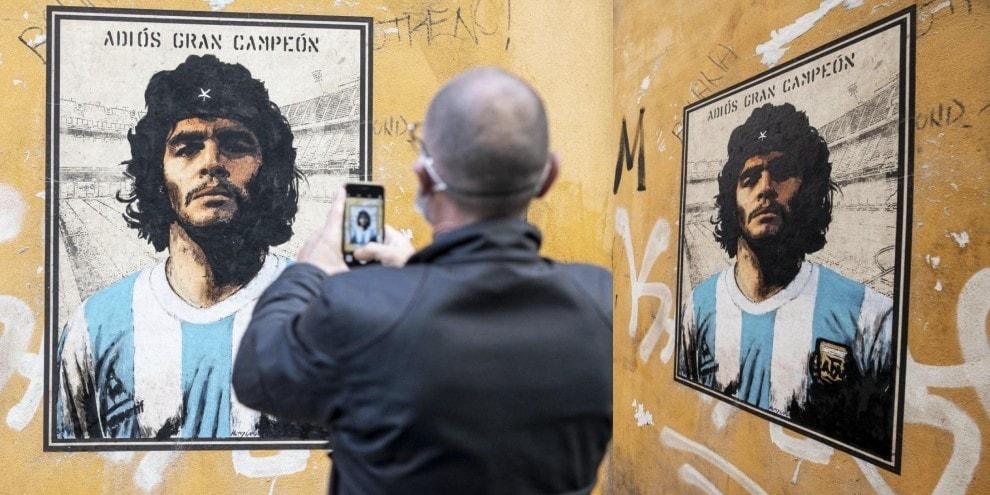 Maradona come Che Guevara sui muri di Trastevere