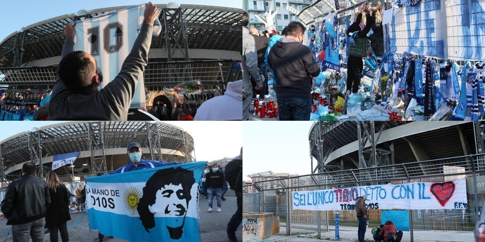 Maradona idolo di Napoli: l'amore dei tifosi fuori dal San Paolo