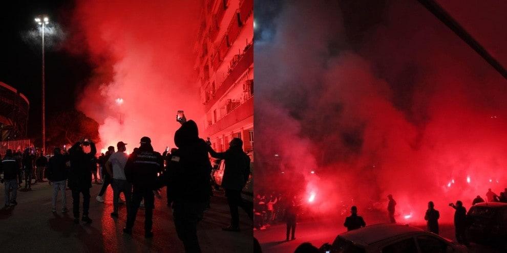 Napoli, quanto amore per Maradona: fumogeni all'esterno dello stadio