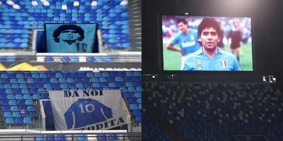 Napoli, il tributo a Maradona all'interno dello stadio