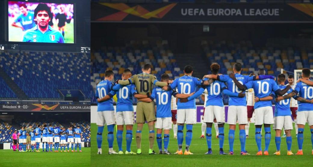 Maradona, i giocatori del Napoli in campo con la maglia numero 10
