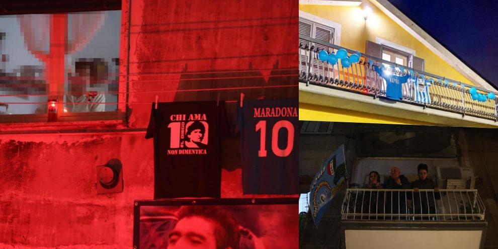 Maradona, il flash mob dai balconi di Napoli