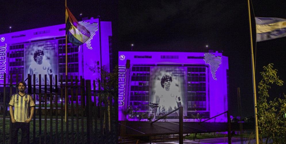 Maradona, l'omaggio della Conmebol: palazzo illuminato e foto di Diego