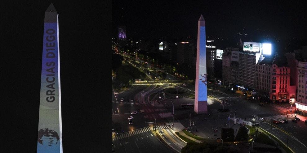 Maradona, luci sull'Obelisco di Buenos Aires per l'ultimo saluto