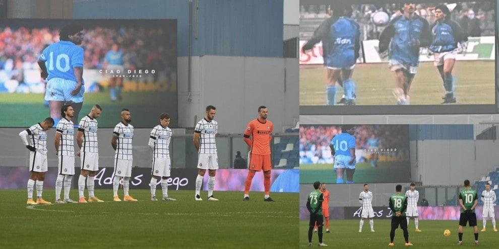Maradona, minuto di silenzio e foto sul maxischermo in Sassuolo-Inter