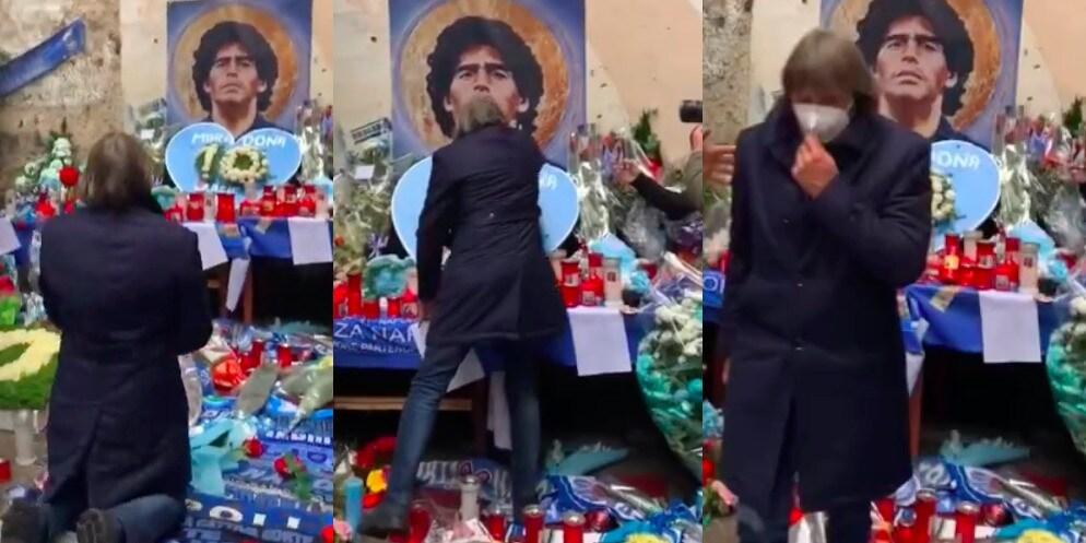 Bruno Conti, corona di fiori per Maradona ai Quartieri Spagnoli