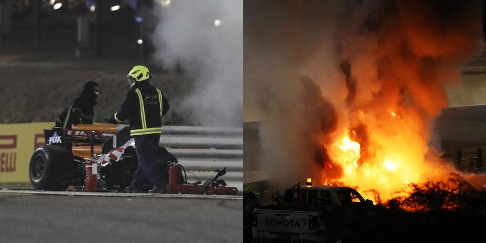 Bahrain, paura per Grosjean: macchina in fiamme!