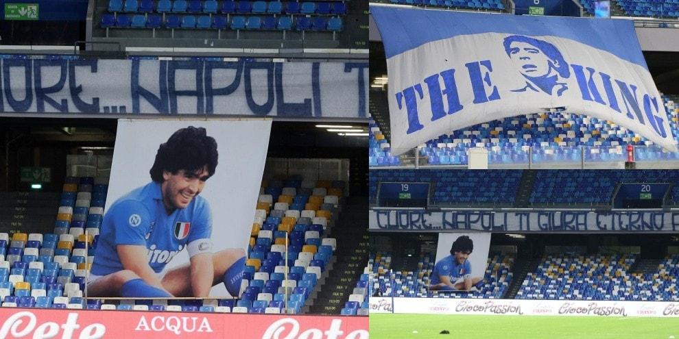 Maradona celebrato dal Napoli: striscione e gigantografia nello stadio