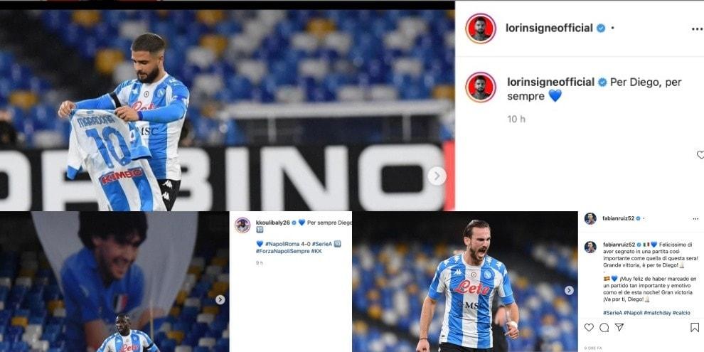 Napoli, da Insigne a Koulibaly e Fabian Ruiz: il 4-0 alla Roma è per Maradona