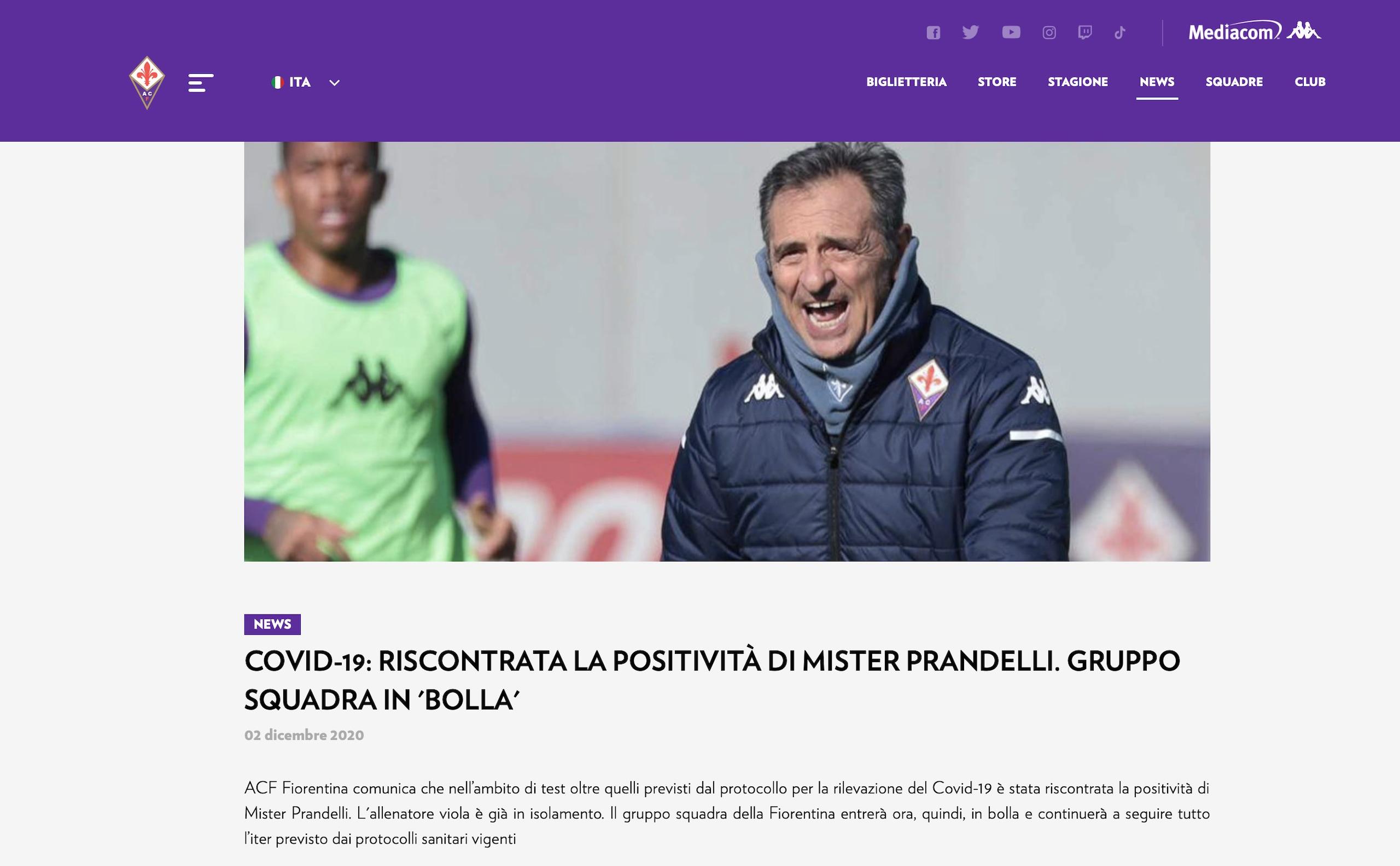 Fiorentina, Prandelli positivo al coronavirus