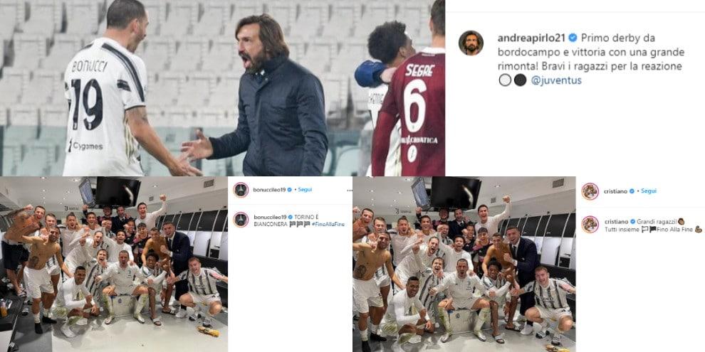 """Juve, la festa di Ronaldo e compagni sui social: """"Il derby è bianconero"""""""
