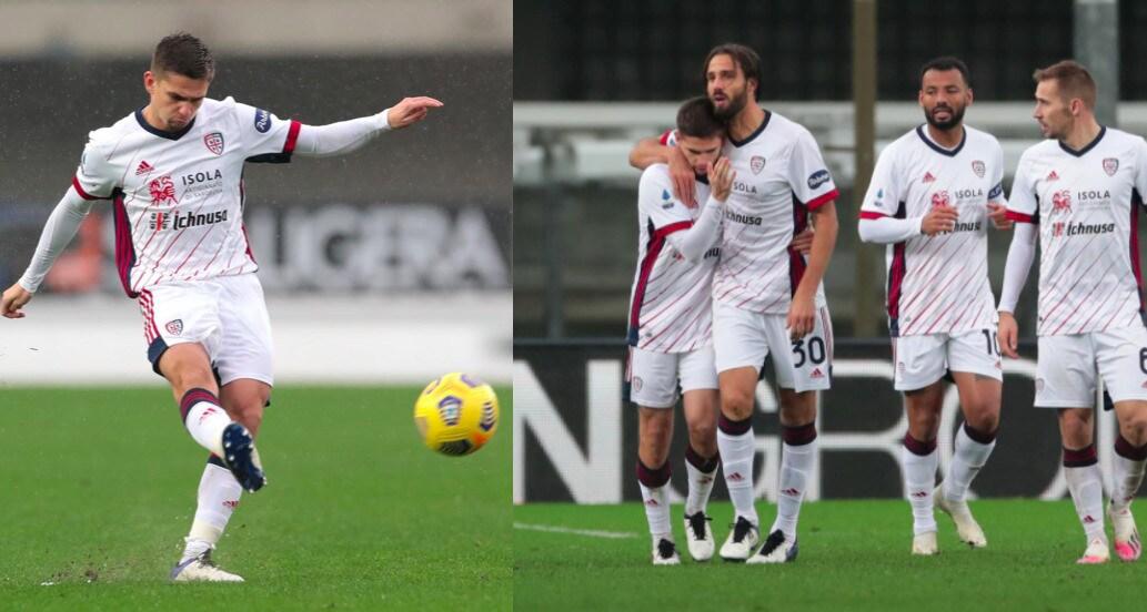 Cagliari, Marin segna il primo gol in Serie A: 1-1 a Verona
