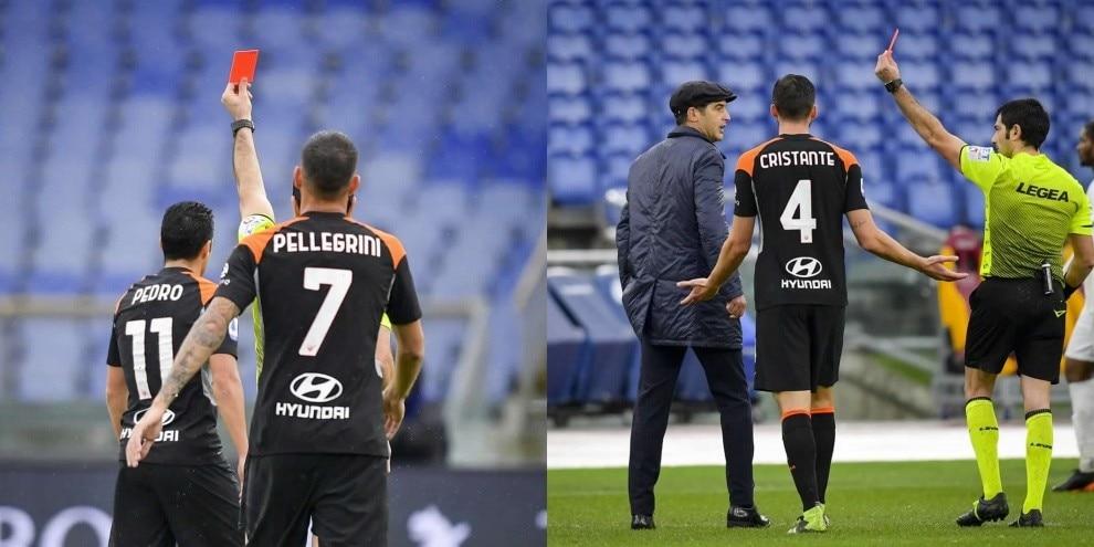 Roma, espulsione per Pedro e Fonseca: 0-0 con il Sassuolo