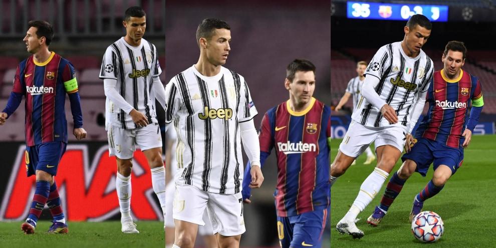 Ronaldo rincorre e sovrasta Messi: la sequenza