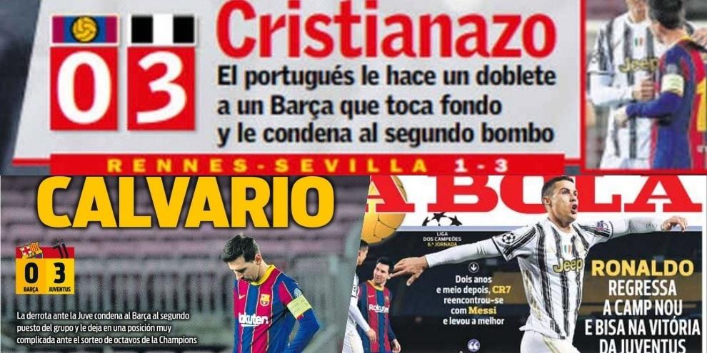 """""""Cristianazo"""" al Camp Nou! La stampa estera esalta CR7"""