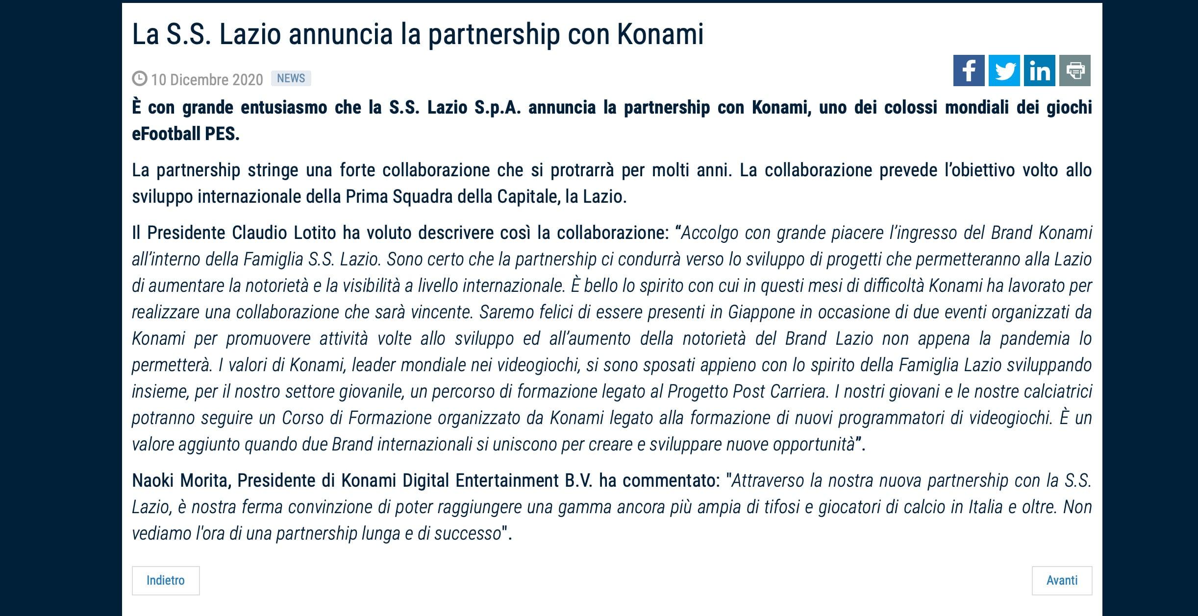 Lazio, siglata una partnership con Konami