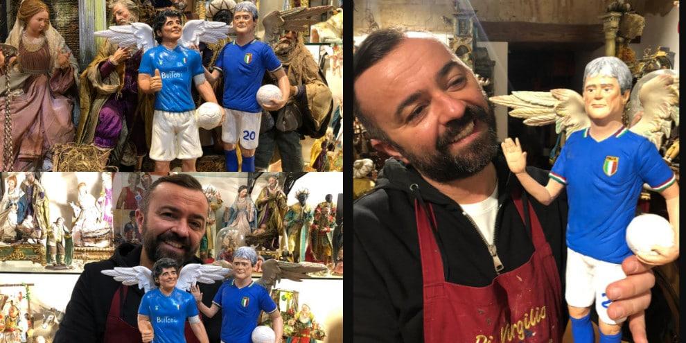 Paolo Rossi nel presepe con Maradona