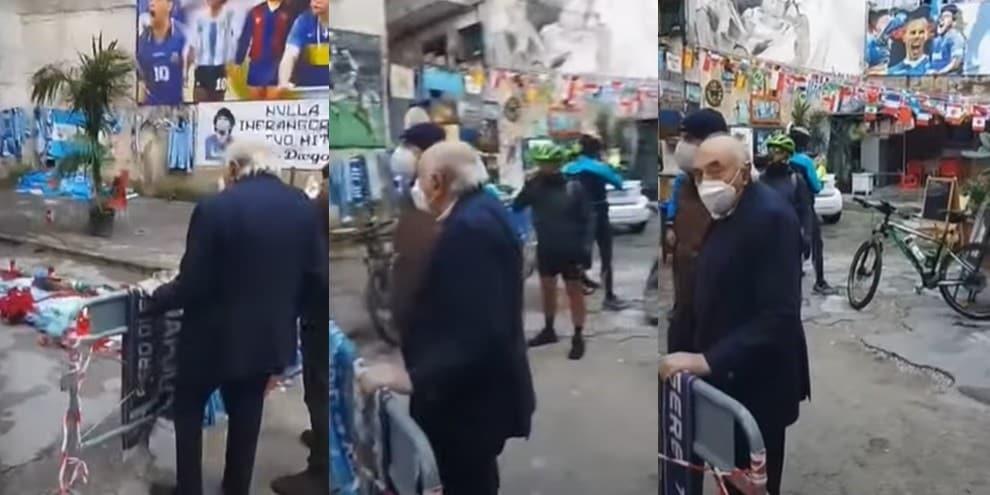 Napoli, Ferlaino in preghiera davanti al murale di Maradona