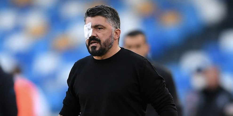 Gattuso con la benda sull'occhio in Napoli-Sampdoria