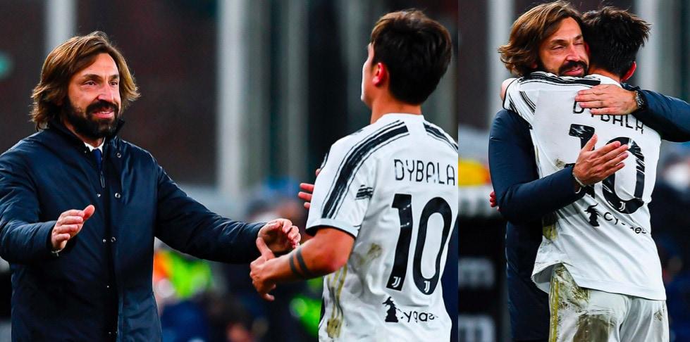 Dybala, che abbraccio con Pirlo dopo il gol