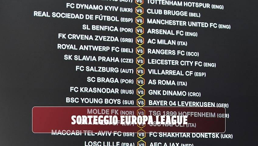 Sorteggi Europa League: Braga-Roma, Granada-Napoli e Stella Rossa-Milan