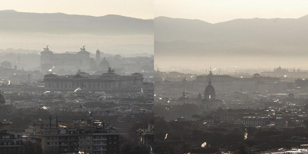 Roma avvolta da una nube di smog: le impressionanti foto