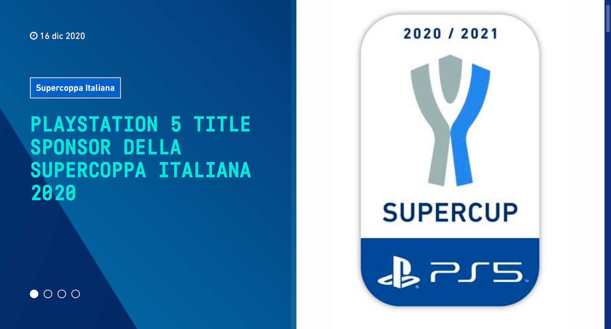 La Supercoppa Italiana cambia nome e diventa PS5 Supercup