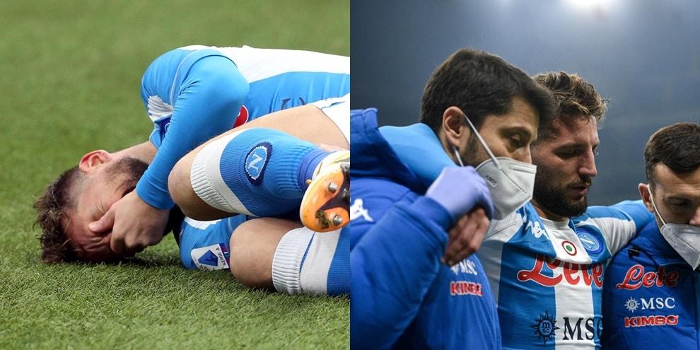 Mertens in lacrime dopo l'infortunio alla caviglia durante il match Inter-Napoli